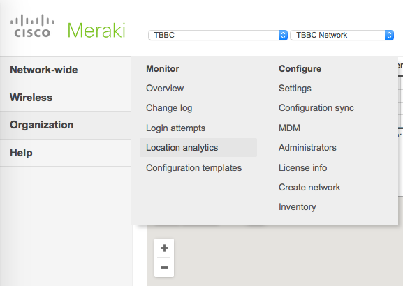 Meraki Location Analytics Menu