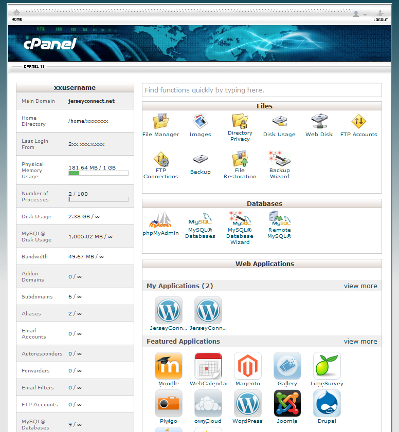 cPanel dashboard screen